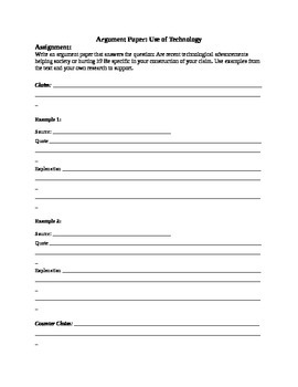 Technology Argument Paper with Outline and Rubric