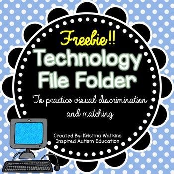 FREEBIE! Technology File Folder Match Autism Resource