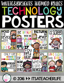 Technology Rules Posters | White & Brights Theme