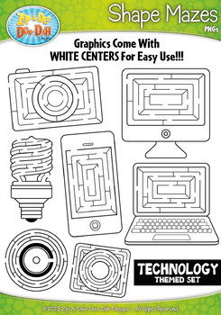 Technology Shaped Mazes Clipart Set — Includes 15 Graphics!
