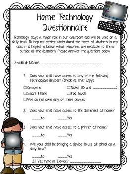 Technology Survey or Questionnaire