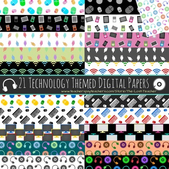 Technology Theme Digital Paper - Set A - 21 Papers