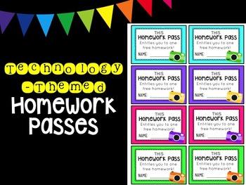 Technology-Themed Homework Pass