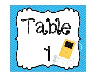 Technology Themed Table Signs