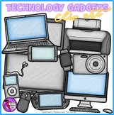 Technology gadgets clip art: crayon effect