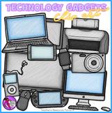 Technology gadgets clip art: crayon effect clipart