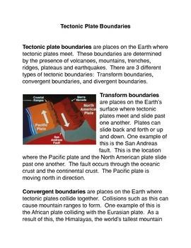 Tectonic Plate Boundaries Common Core Activity
