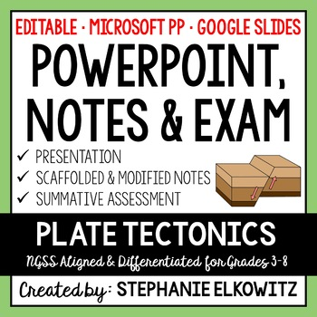 Tectonic Plates PowerPoint, Notes & Exam (Differentiated &