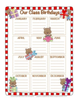Teddy Bear Birthday Chart