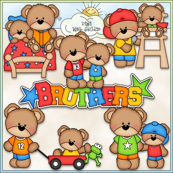 Teddy Bear Brothers Clip Art - Bear Clip Art - CU Clip Art & B&W