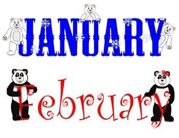 Teddy Bear Calendar Headings for all 12 Months