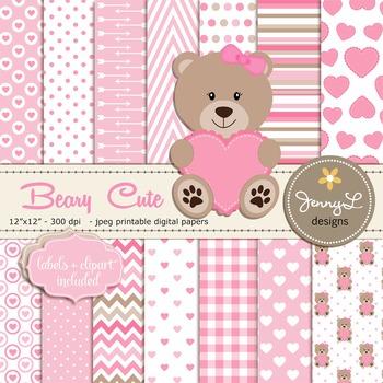 SET: Teddy Bear Digital papers, Bear clipart,