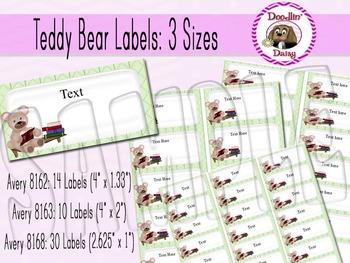 Teddy Bear Labels: 3 Sizes