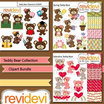 Teddy bear collection clip art bundle (3 packs)