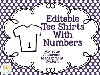 Student Numbers Tee Shirts Editable Classroom Management