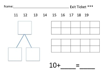 Teen Number Differentiated Exit tickets