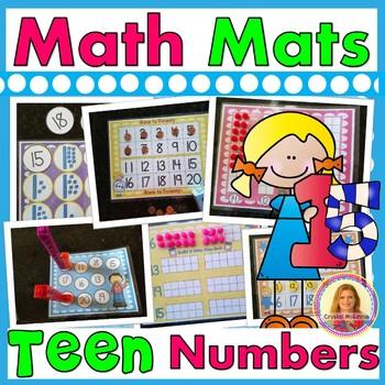 Teen Number Math Mats  (9 Hands-On Center Activities With