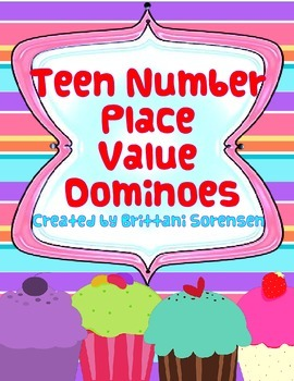 Teen Number Place Value Dominoes Math Center - 8+ Games in One!