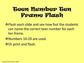 Teen Number Ten Frame Flas