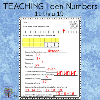 Teen Numbers 10-20  practice worksheets