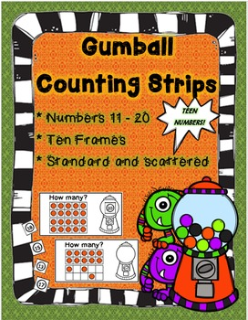 Teen Numbers Gumball Counting Strips! Count using anchors