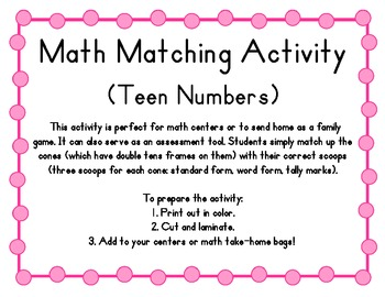 Teen Numbers Math Matching Activity (Ice Cream Theme), Com