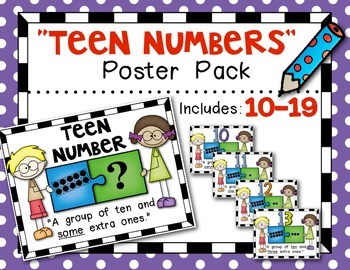 "Teen Numbers Poster Pack {10-19} ""Puzzle Kids"" Kindergarten Math"