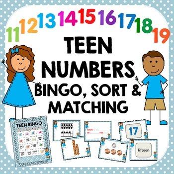 Teen Numbers Sort, Match, and Bingo Activities
