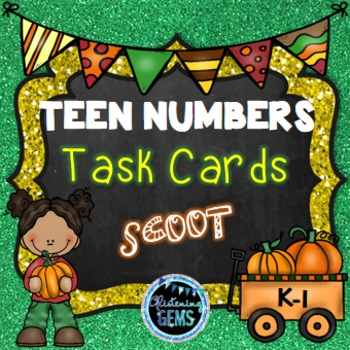 Teen Numbers Task Cards - Fall Theme -Number Sense
