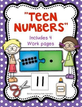 """Teen Numbers Workpages """"Puzzle Kids"""" for Kindergarten and"""