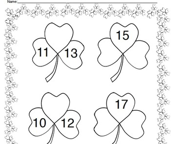 Free Teen Numbers Printable with Shamrocks by Charlotte's Clips
