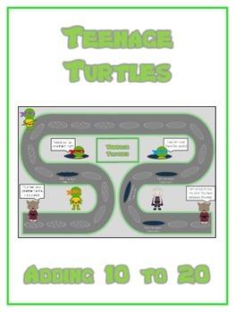 Teenage Turtles Math Folder Game - Common Core - Adding 10 to 20