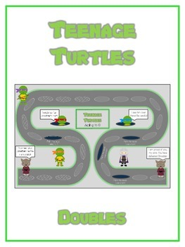Teenage Turtles Math Folder Game - Common Core - Adding Doubles