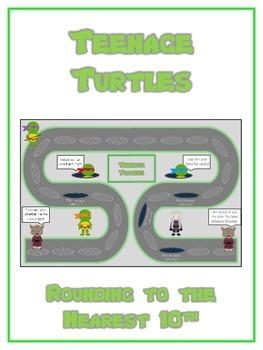 Teenage Turtles Math Folder Game - Common Core - Rounding