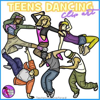 Teens dancing clip art