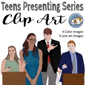Teens Presenting Clip Art Set 1
