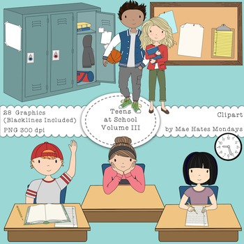 Teens at School Volume 3 - Secondary Teen Clipart