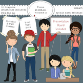 Teens at School Volume 2 - Secondary Teenager Clipart