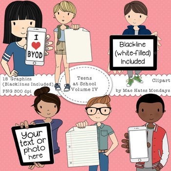 Teens at School Volume 4 - Secondary Teenager Clipart