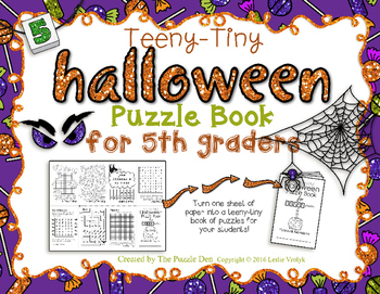 Teeny-Tiny Halloween Puzzle Book for Fifth Graders