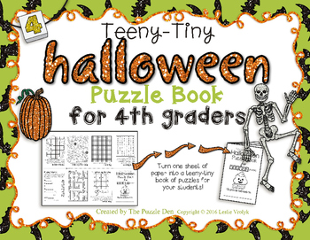 Teeny-Tiny Halloween Puzzle Book for Fourth Graders