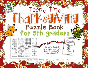 Teeny-Tiny Thanksgiving Puzzle Book for Fifth Grade