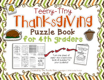 Teeny-Tiny Thanksgiving Puzzle Book for Fourth Grade