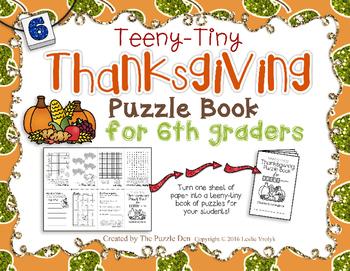 Teeny-Tiny Thanksgiving Puzzle Book for Sixth Grade