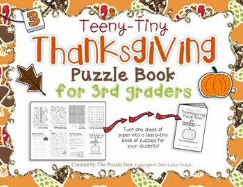 Teeny-Tiny Thanksgiving Puzzle Book for Third Grade