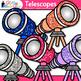 Rainbow Telescope Clip Art {Astronomy Graphics for Solar S