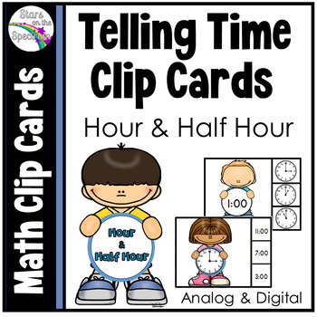 Telling Time to the Half Hour Clip Cards