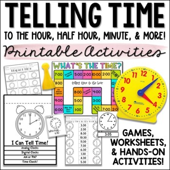 Telling Time to the Hour, Half Hour, and Minute Bundle