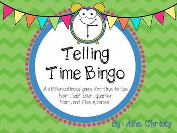 Telling Time Bingo :00 :30 :15 :05