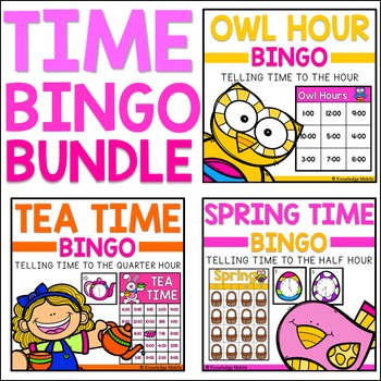 Telling Time Bingo - BUNDLE - Nearest Hour, Half Hour, and